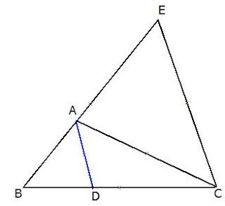 הוכחת משפט חוצה זווית הפוך: ישר העובר דרך קדקוד משולש ומחלק את הצלע שמול קדקוד זה חלוקה פנימית ביחס של שתי הצלעות האחרות (בהתאמה) הוא חוצה את זווית המ