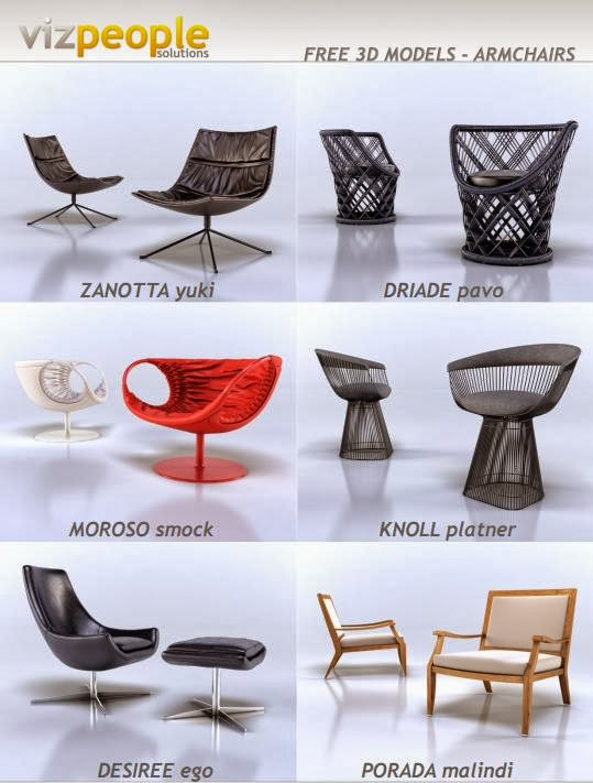 Free 3d Models   Armchairs This Is Free Package Of 6 High Detail Armchairs  3d Models 3ds Max. Free For Commercial Use. Www.viz People.com