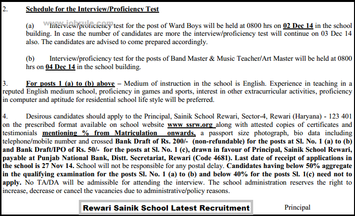 Rewari Sainik School (Haryana) Latest Academic and ADM Staff Recruitment November 2014
