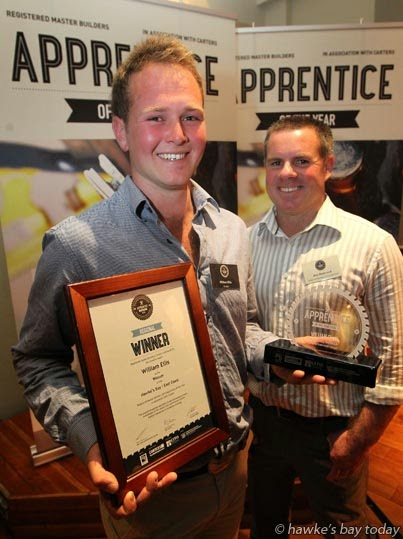 L-R: William Ellis, Onga Onga, Hawke's Bay East Coast regional winner of the Registered Master Builders Carters 2014 Apprentice of the Year; His employer, Ben Redmond, Redmond Builders, Havelock North - pictured at a function at the Masonic Hotel, Napier photograph