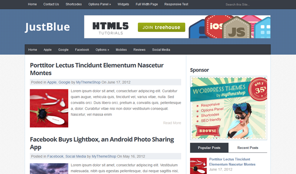 JustBlue Theme Wordpress Terbaik