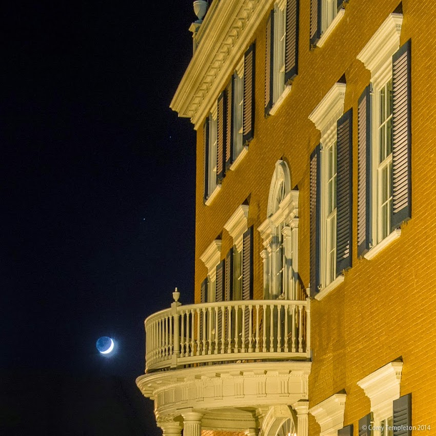 Portland, Maine October 2014 Night Moon and McLellan-Sweat Mansion photo by Corey Templeton