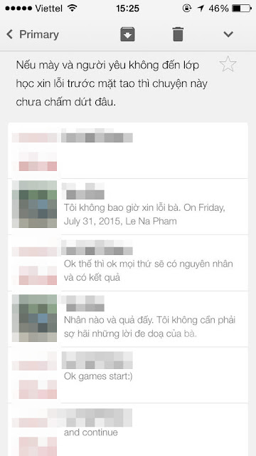 Tin nhắn đe dọa học viên từ Trung tâm Lena (Ảnh: Facebook nhân vật)