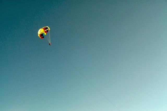 Mediterranean sea beach parasailing