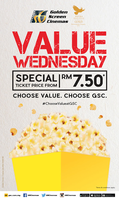 GSC special ticket price for Wednesdays starting from RM7.50