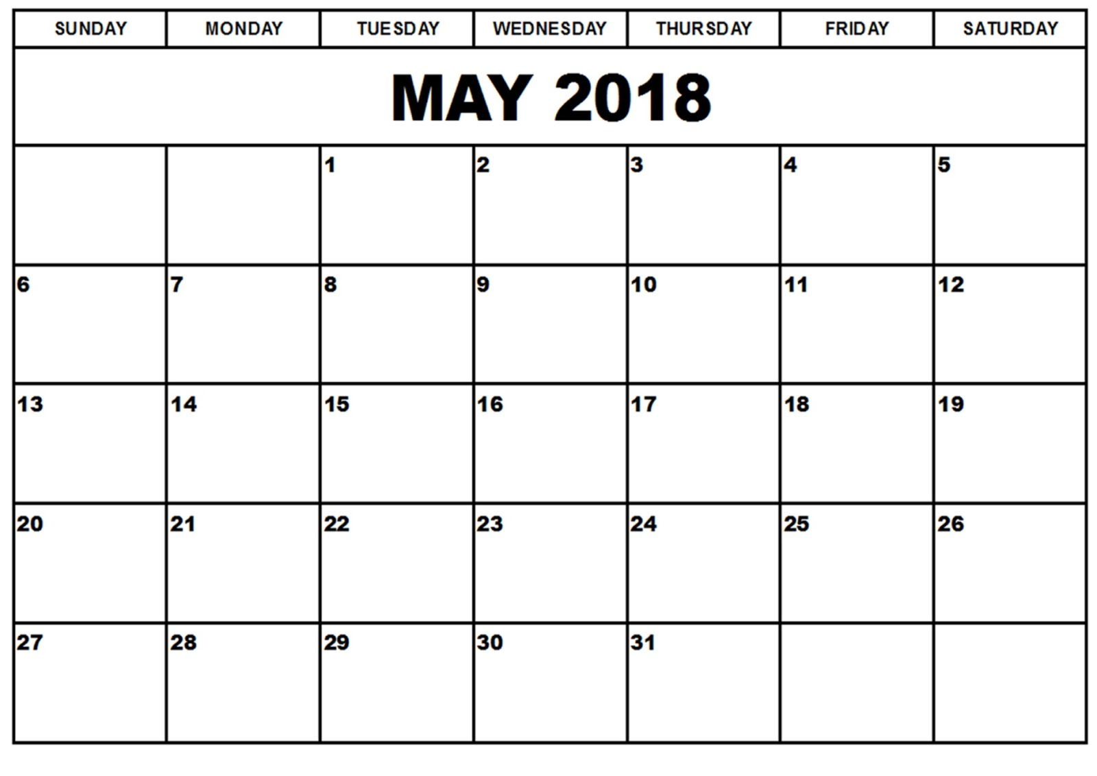 Blank Calendar Of May : May calendar printable blank templates