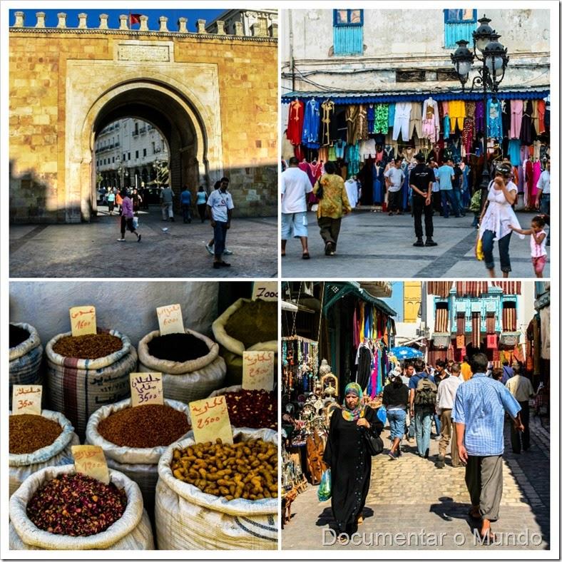 Mercados na Tunísia; souks tunisinos