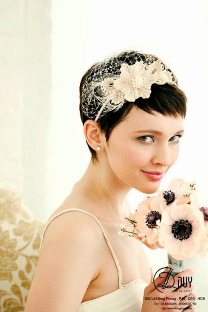 tạo kiểu tóc cho cô dâu tóc ngắn thêm ấn tượng