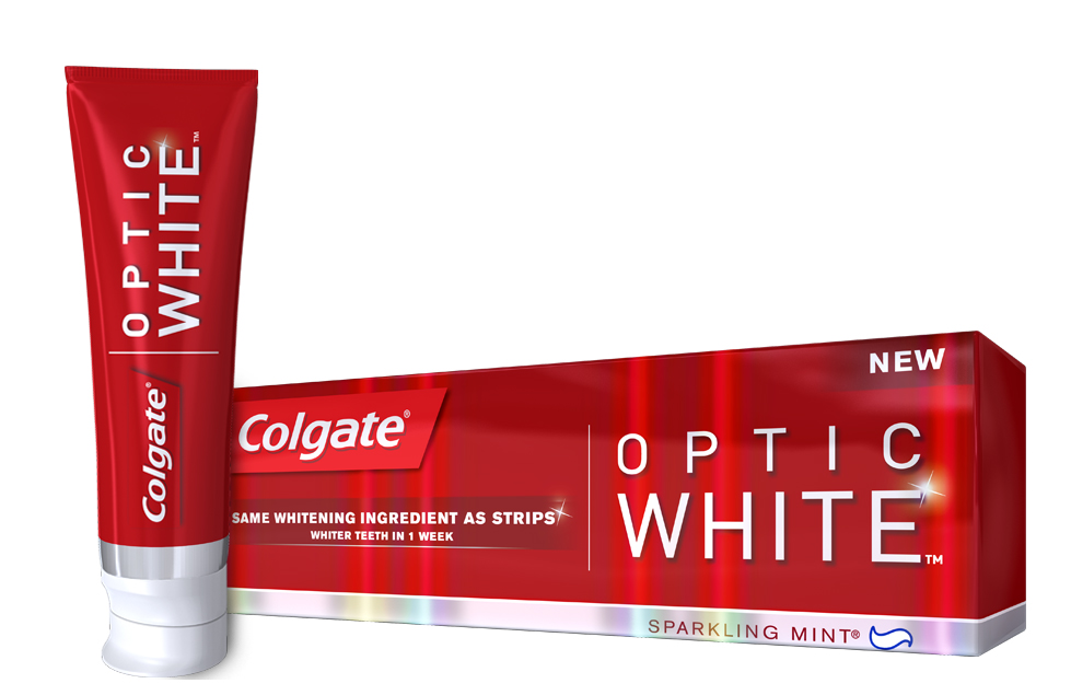 Colgate Optic White has a high impact whitening formula for whiter teeth in 1 week Colgate Optic White is available in a sparkling mint flavor, helping to freshen breath while whitening as you brush every day.