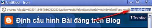 Xác định ID widget muốn tạo nút ẩn/hiện
