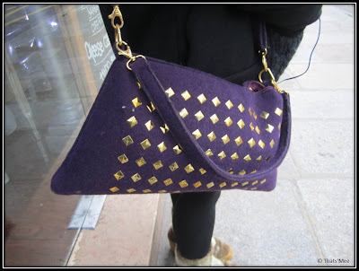 Metilde maxi-pochette sac pochette violet à clous Acqua Rêves