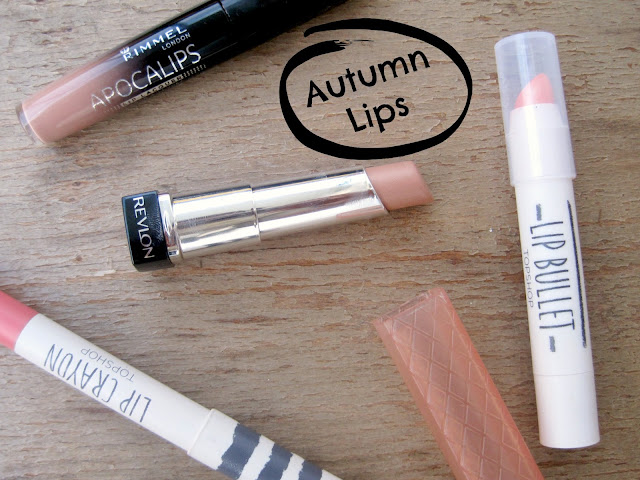 Autumn lips autumn lip products lip shades review swatch rimmel apocalips nude eclipse revlon lip butter creme brulee top shop lip bullet lip crayon coy there she goes