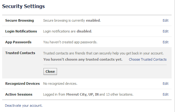 Facebook's security settings trusted contacts