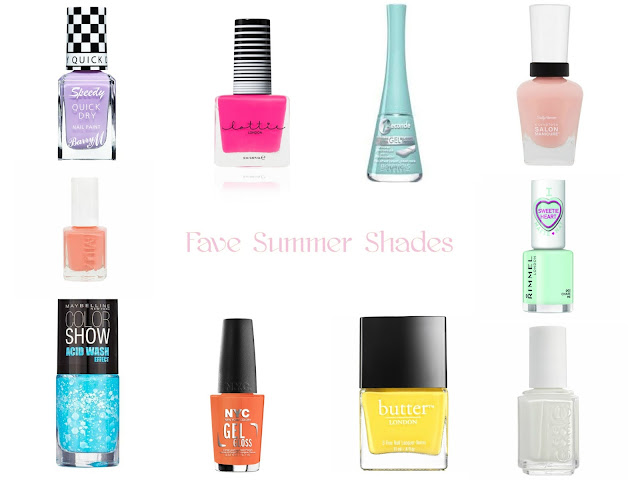 Summer - nail varnish - Nail polish - summer shades - nail lacquer - Barry M - Lottie London - Bourjois - sally hansen - MUA - Rimmel - Maybelline - NYC - Butter London - Essie