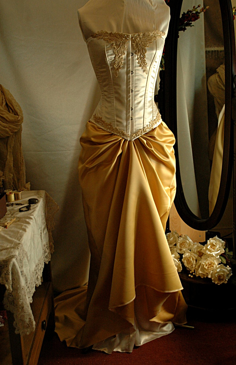 Gold corset gown for Wedding dress bustier corset