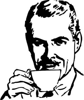 herrasmies juo kahvia