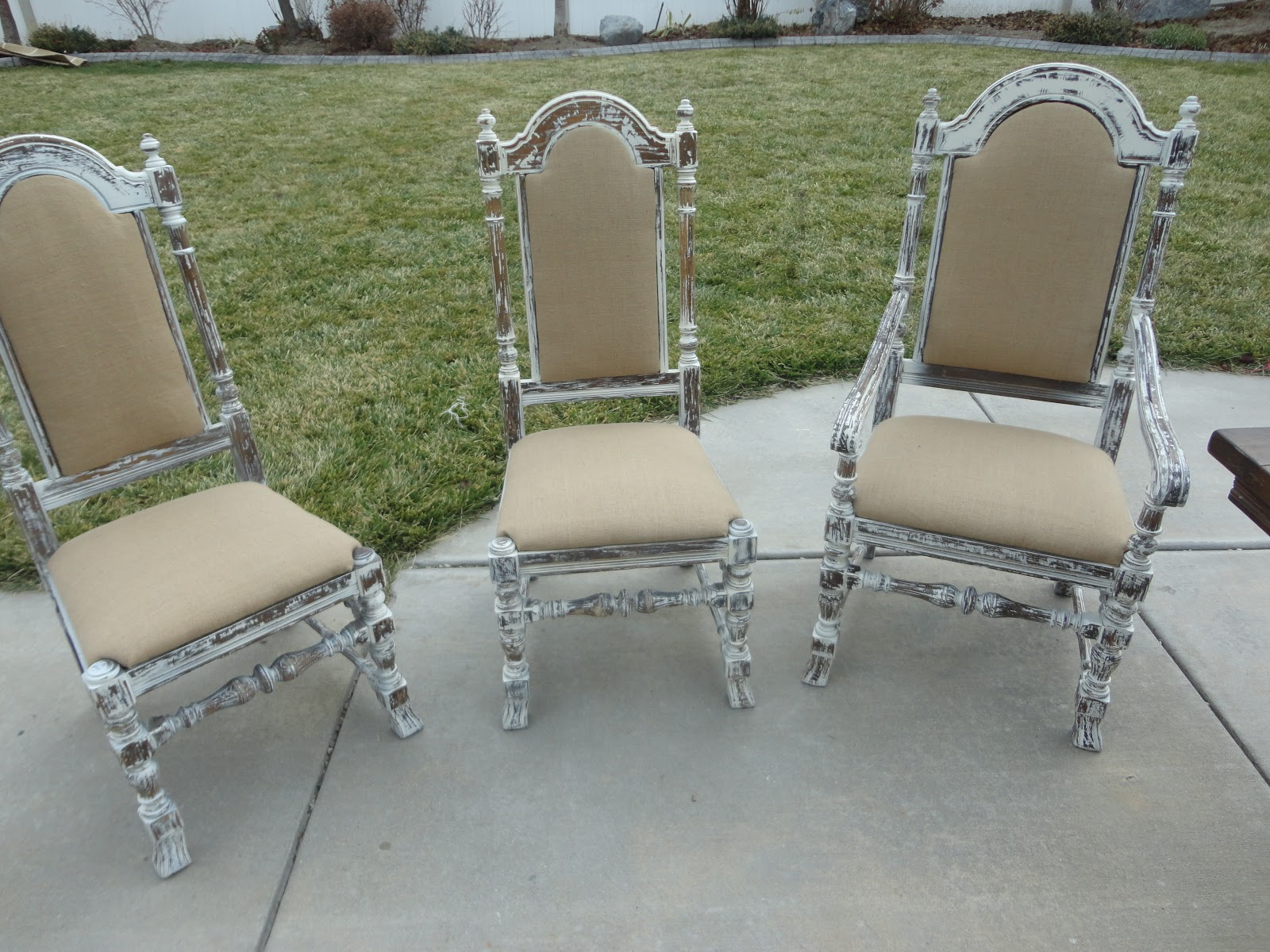 Three Refinished Ethan Allen Chairs With Chippy Paint Wood And  Reupholstered In Burlap Fabric. $99 Each Or $400 With The Dining Table.