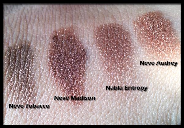 Neve Cosmetics - Ombretti Minerali - Swatch di confronto tra Audrey, Madison, Tobacco ed Entropy by Nabla Cosmetics