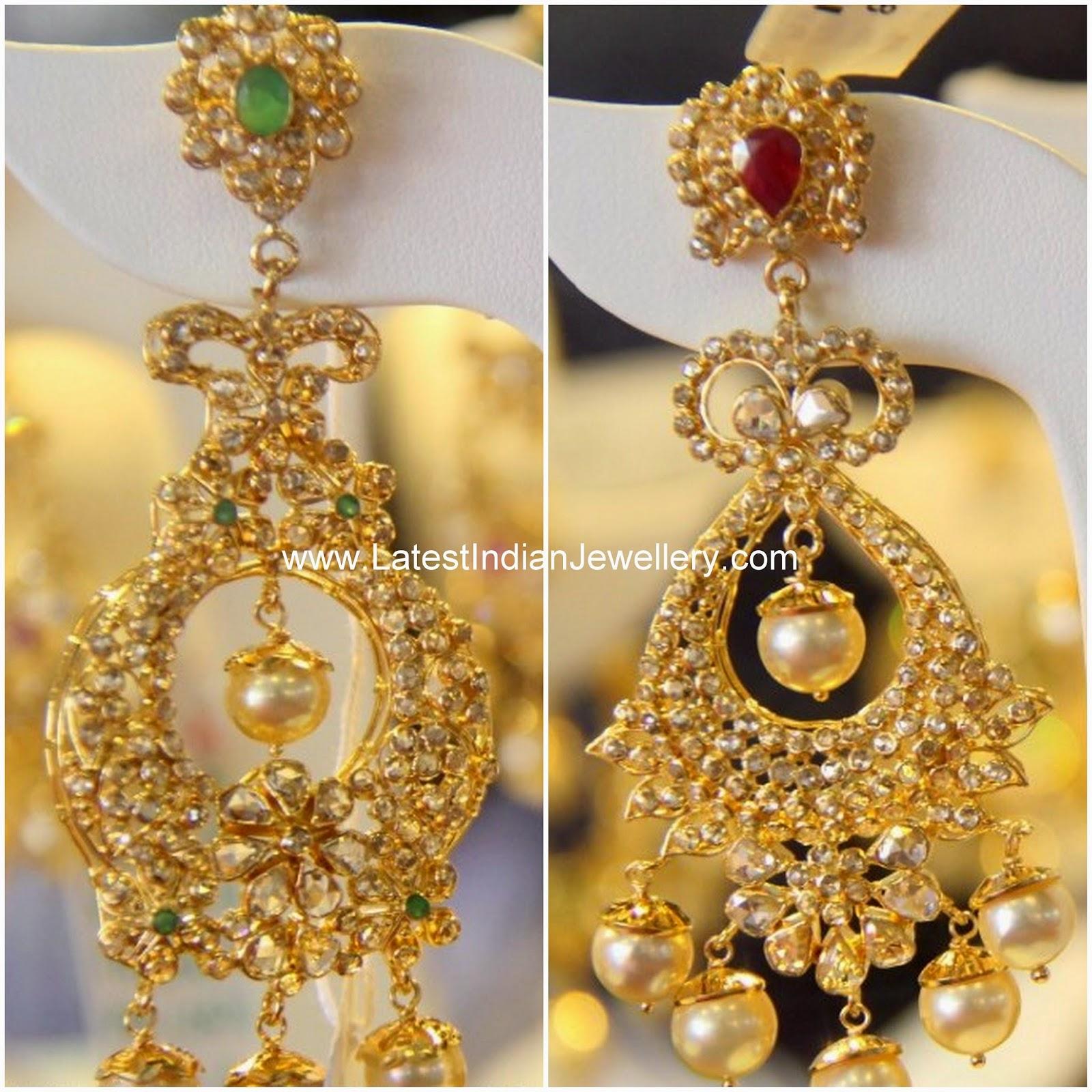 uncut diamond chandbali earrings
