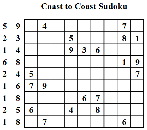 Coast to Coast Sudoku (Daily League #4)