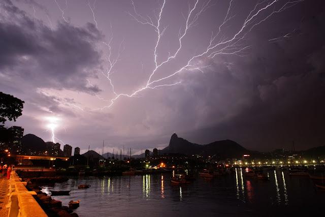 Fotografia, Rio de Janeiro, profissional, o globo, raios, relampago, mar, reflexo, botafogo, cristo