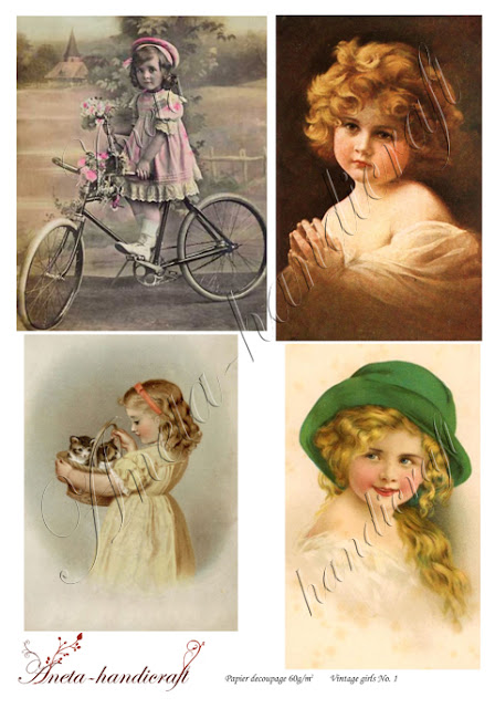 Aneta-handicraft decoupage papers- vintage girls collection