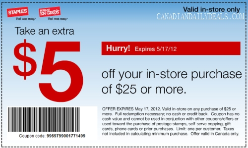photo relating to Staples Printable Coupon titled Canadian Every day Bargains: Staples: $5 Off $25 *Printable Coupon