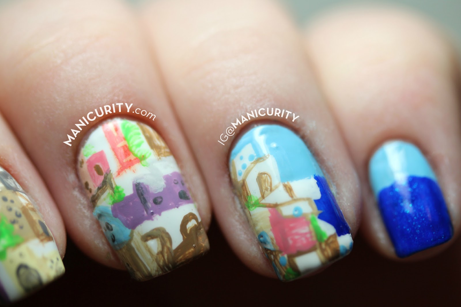The Digit-al Dozen: Seaside Santorini - freehand village nail art | Manicurity.com