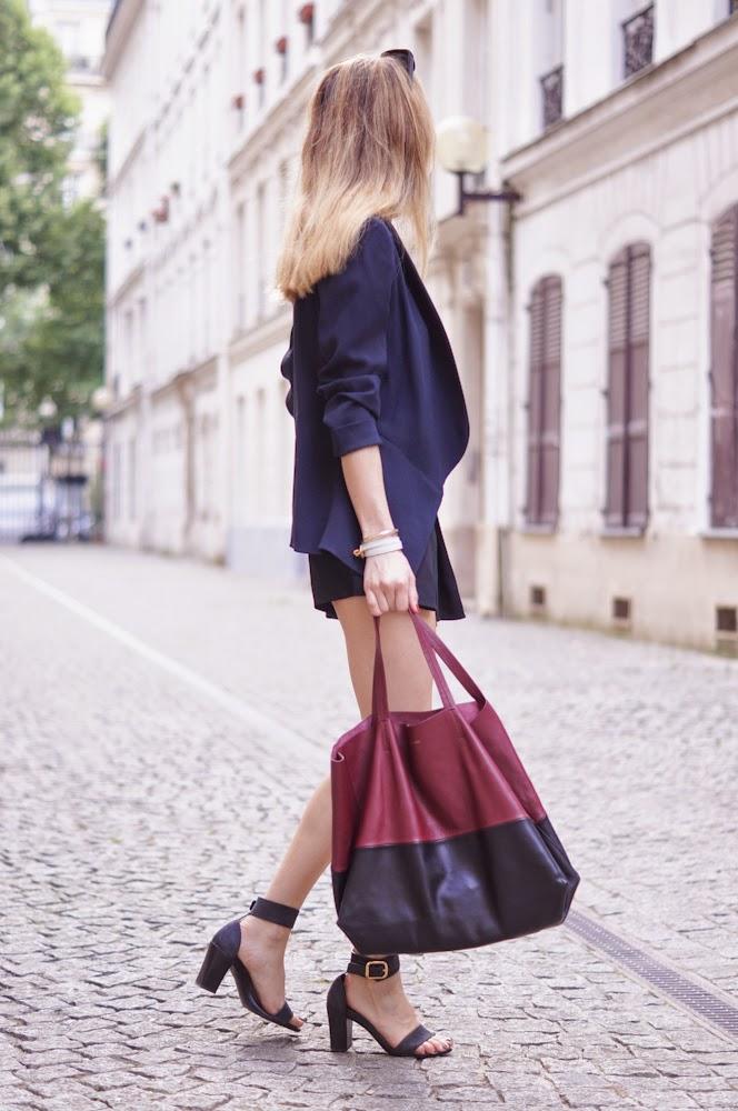 navy and black, fashionblogger, paris, parisienne, streetstyle, vanessa bruno, céline, chloé