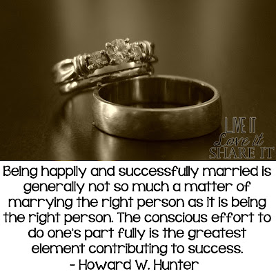 Being happily and successfully married is generally not so much a matter of marrying the right person as it is being the right person. The conscious effort to do one's part fully is the greatest element contributing to success. - Howard W. Hunter