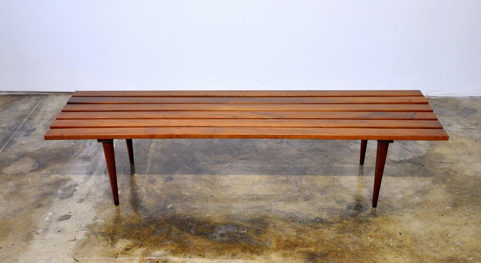 Mid Century Modern Slat Bench Or Coffee Table