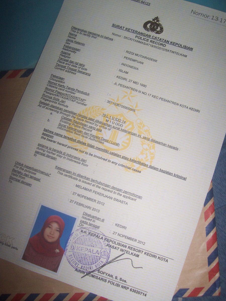 Contoh Bentuk Suatu SKCK (Gambar / Foto Scan) - rizqimutiara