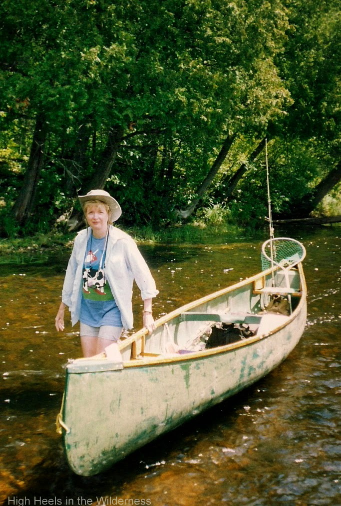 Tracking the canoe on the Opeongo. Streamside chic.