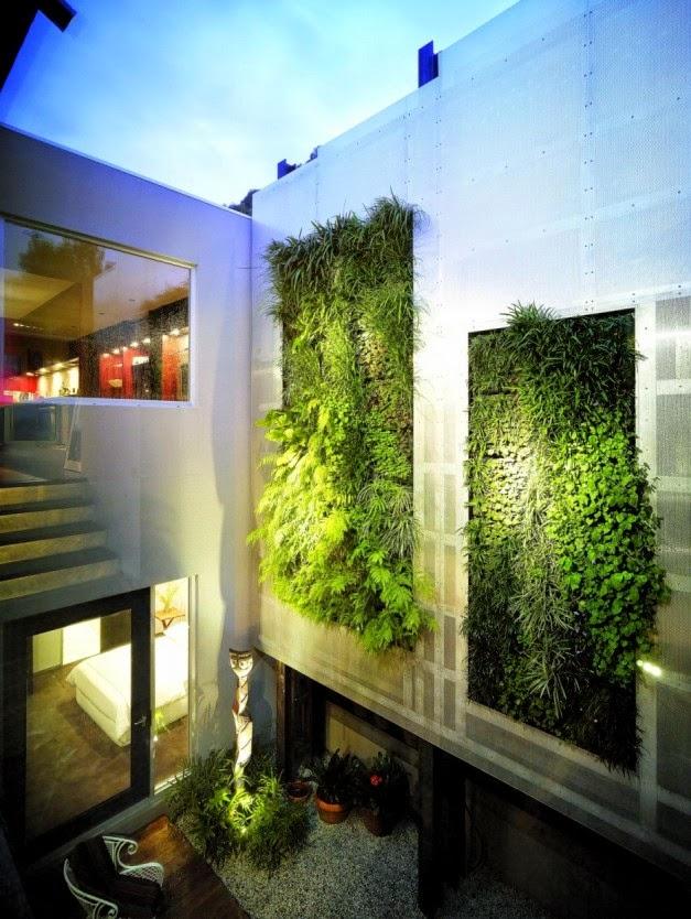 desain exterior taman dinding kontemporer desain rumah