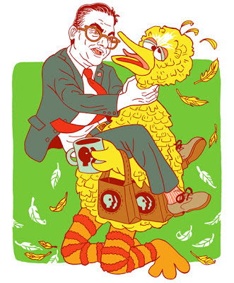 Mitt Romney choking Big Bird. Michael Musto as Mitt Romney.