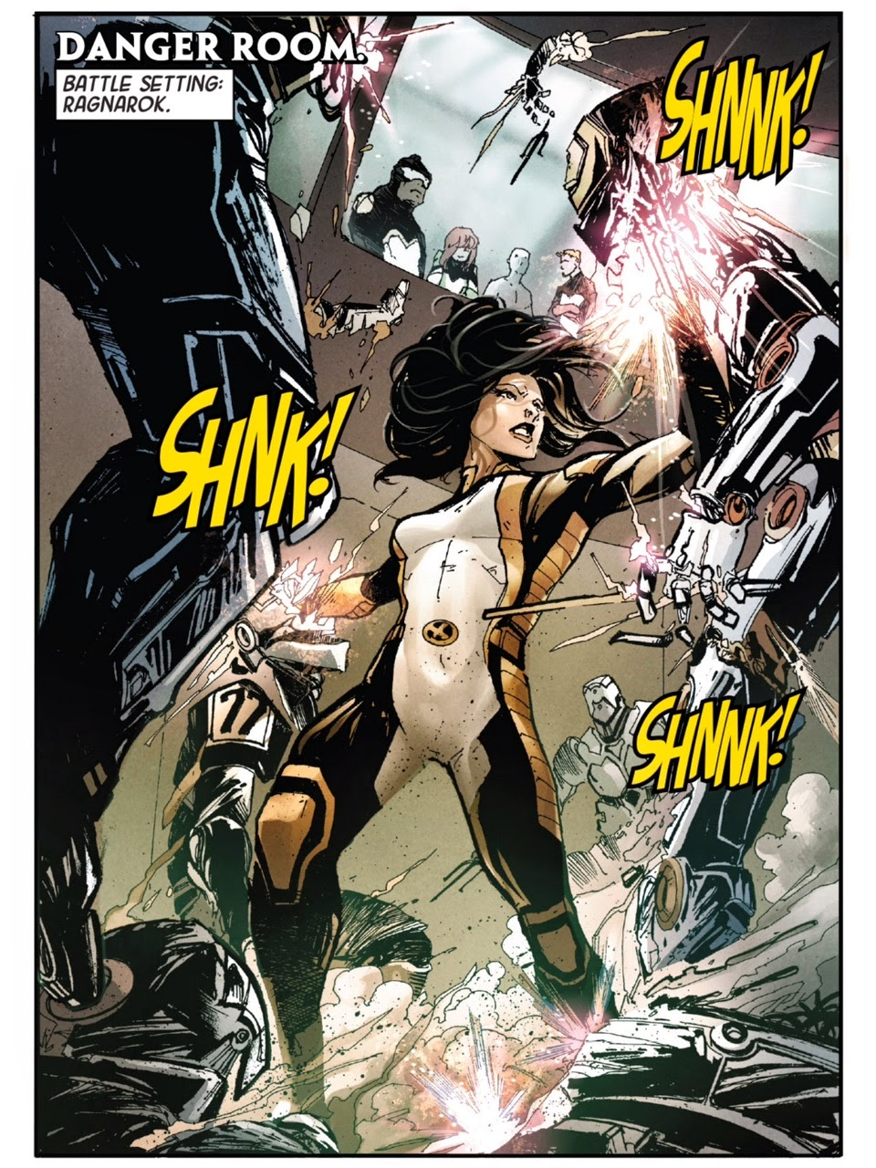 "X-23 in Danger Room Labeled ""Danger Level Ragnarok"" by Ariela Kristantina and Sonia Oback"