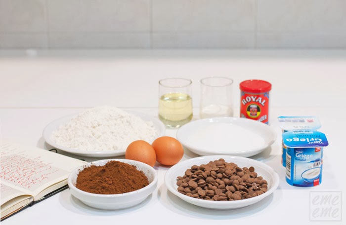 ingredientes muffins de chocolate
