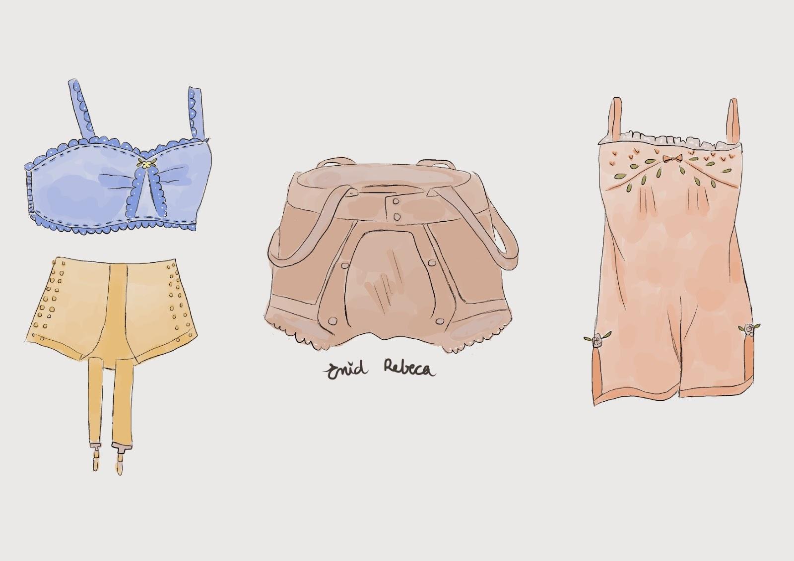 vintage retro 1920s  años 20 20s lingerie lenceria ropa interior ilustración drawing digital illustrator