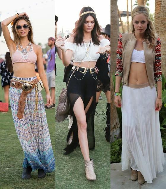 Moda a usar em festivais de verão - maxissaia estilo boémio e hippie rocker