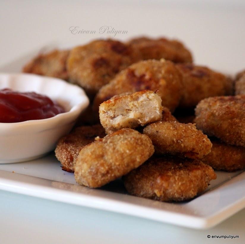 Erivum Puliyum: Baked Chicken Nuggets (Step By Step Pics