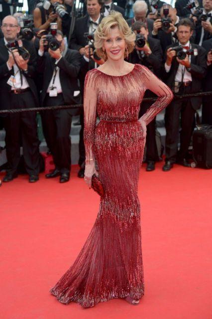 Jane Fonda in a dark red Elie Saab gown at Cannes 2014
