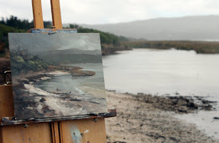 Cloudy plein air seascape in oil by Andy Dolphin