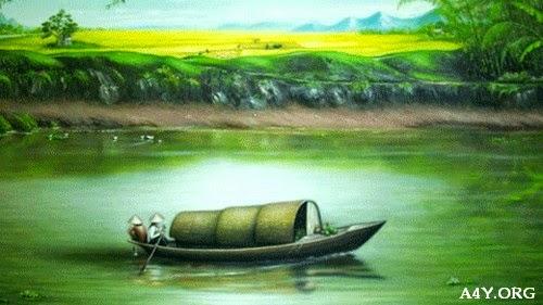 Hình ảnh vẽ con đò trên sông