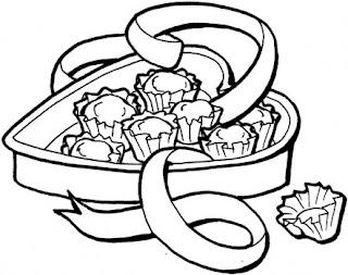 Desenhos Preto e Branco Caixa de bombom    Colorir