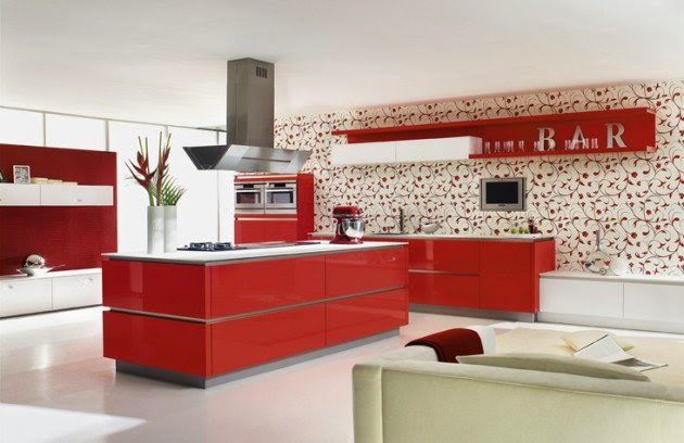 ديكور مطبخ أحمر