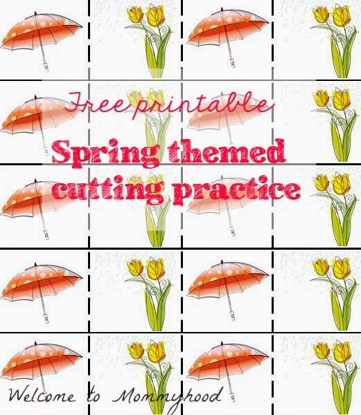 Free Montessori Printables: Spring Cutting Practice by Welcome to Mommyhood #montessori, #toddleractivities, #montessoriactivities, #freeprintables