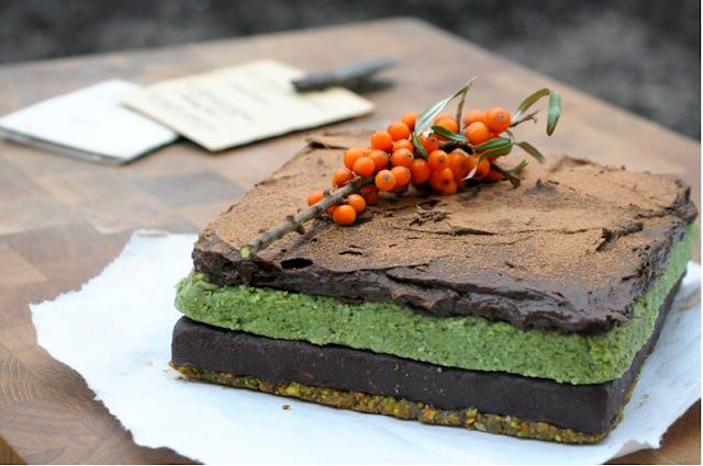 Raw Chocolate Pistachio Cake