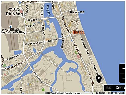 ダナン ゴールドコーストホテル~マーブルマウンテン マップ