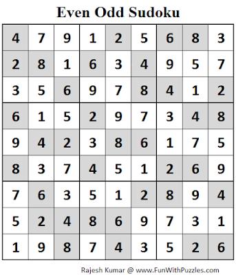 Even Odd Sudoku (Fun With Sudoku #84) Solution