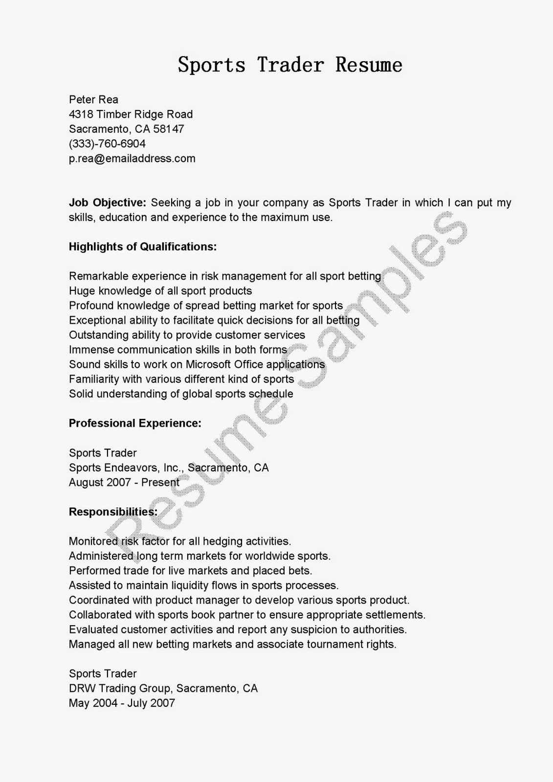Day Trader Resume Sample. Awesome Collection Of Equity Sales Trader Cover  Letter ...